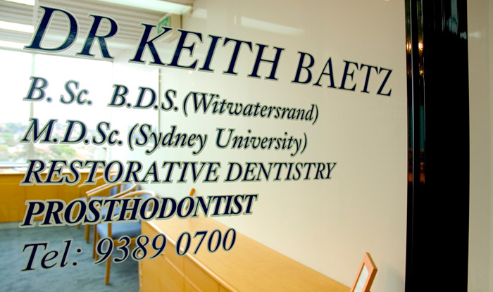 Dr Keith Baetz is our specialist prosthodontist